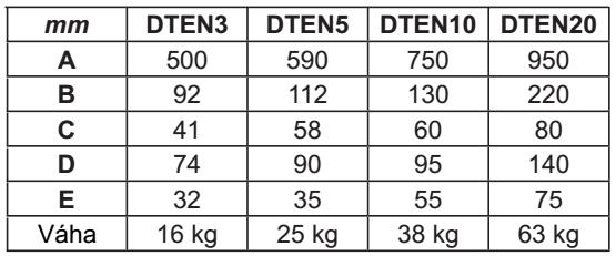 Rozmery - závesné váhy DTEN
