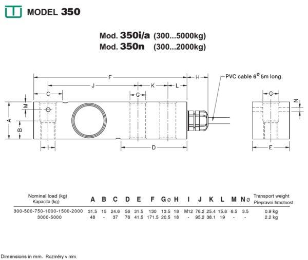 Snímač sily M350 - rozmery